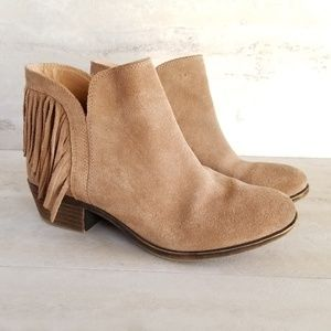 Lucky Brand Benji Fringe Ankle Suede Booties  7.5